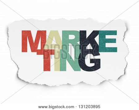 Marketing concept: Painted multicolor text Marketing on Torn Paper background