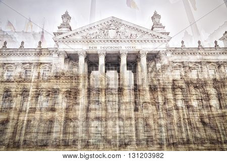double exposure of the Reichstag building Berlin