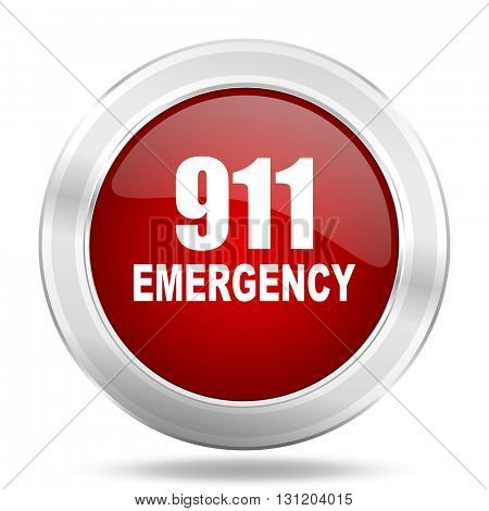 number emergency 911 icon, red round metallic glossy button, web and mobile app design illustration