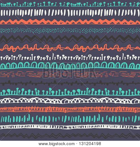 Ornamental ethnic seamless pattern. Endless hand drawn backdrop in boho style, tribal trendy ornament. Horizontal decorative colorful lines on dark background. For cloth, wallpaper, wrapping