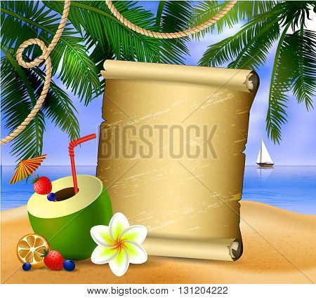 old paper for your desighn on tropical background and exotic beverage