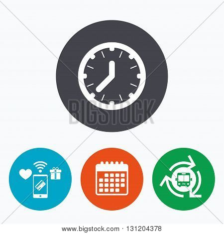 Clock time sign icon. Mechanical watch symbol. Mobile payments, calendar and wifi icons. Bus shuttle.