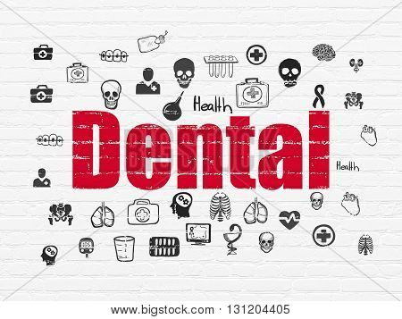 Healthcare concept: Painted red text Dental on White Brick wall background with  Hand Drawn Medicine Icons