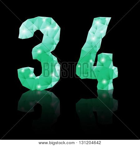 Shiny emerald green polygonal font with reflection on black background. Crystal style 3 and 4 numerals