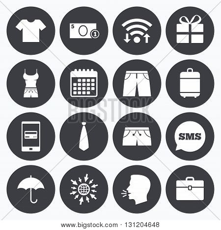 Wifi, calendar and mobile payments. Clothing, accessories icons. T-shirt, business case signs. Umbrella and gift box symbols. Sms speech bubble, go to web symbols.