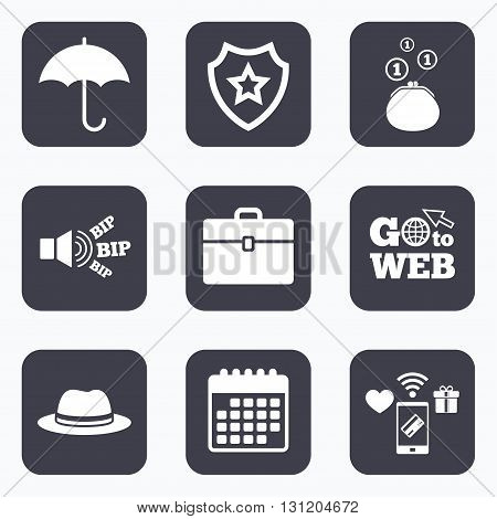 Mobile payments, wifi and calendar icons. Clothing accessories icons. Umbrella and headdress hat signs. Wallet with cash coins, business case symbols. Go to web symbol.