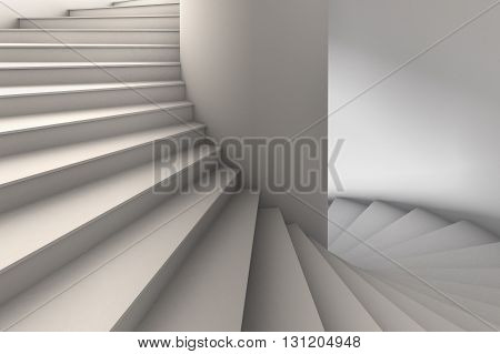 3D Illustration of a simple white spiral staircase with wide steps rotating down from upper left to lower right.  Viewpoint looking straight on.