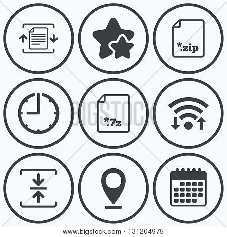 Clock, wifi and stars icons. Archive file icons. Compressed zipped document signs. Data compression symbols. Calendar symbol.