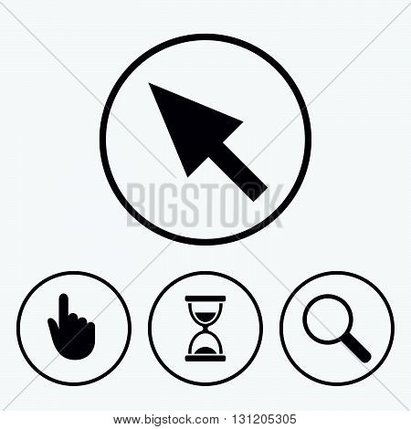 Mouse cursor and hand pointer icons. Hourglass and magnifier glass navigation sign symbols. Icons in circles.