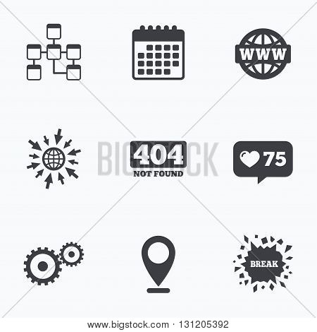 Calendar, like counter and go to web icons. Website database icon. Internet globe and gear signs. 404 page not found symbol. Under construction. Location pointer.