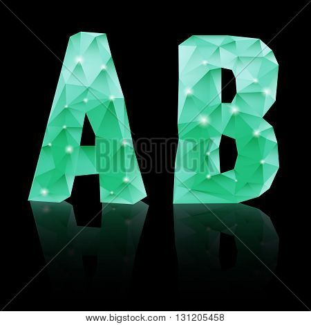Shiny emerald green polygonal font with reflection on black background. Crystal style A and B letters