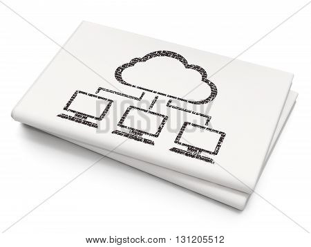 Cloud technology concept: Pixelated black Cloud Network icon on Blank Newspaper background, 3D rendering