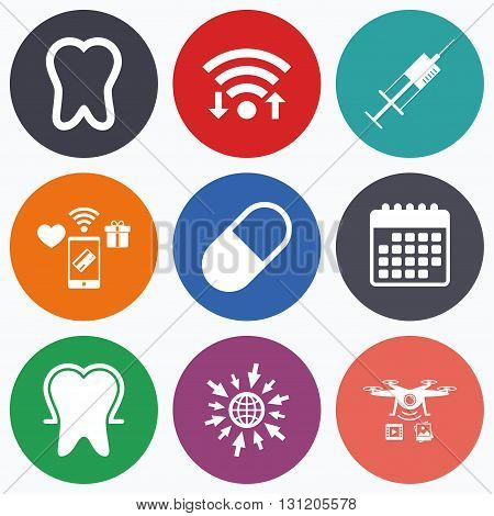 Wifi, mobile payments and drones icons. Tooth enamel protection icons. Medical syringe and pill signs. Medicine injection symbol. Calendar symbol.