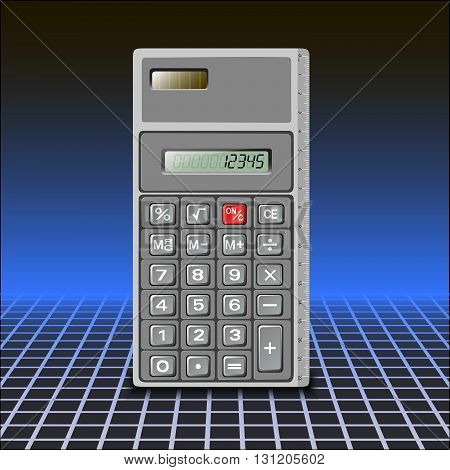 Calculator on abstract blue background in a cage