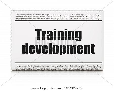 Education concept: newspaper headline Training Development on White background, 3D rendering