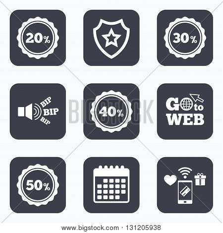 Mobile payments, wifi and calendar icons. Sale discount icons. Special offer stamp price signs. 20, 30, 40 and 50 percent off reduction symbols. Go to web symbol.