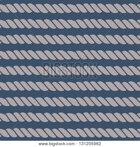 Marine rope line seamless pattern. Endless navy illustration with beige rope ornament, horizontal cord strokes on dark blue background. Trendy textured backdrop. For fabric, wallpaper, wrapping.