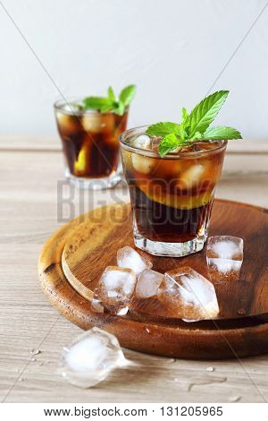 Cocktail Long Island with mint garnish, two portions