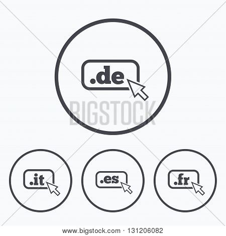 Top-level internet domain icons. De, It, Es and Fr symbols with cursor pointer. Unique national DNS names. Icons in circles.