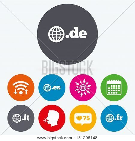 Wifi, like counter and calendar icons. Top-level internet domain icons. De, It, Es and Fr symbols with globe. Unique national DNS names. Human talk, go to web.
