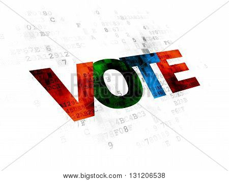 Politics concept: Pixelated multicolor text Vote on Digital background
