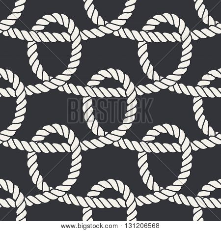 Marine rope loop seamless pattern. Endless navy illustration with white rope ornament, horizontal crossed cord on dark blue background. Trendy textured backdrop. For fabric, wallpaper, wrapping.
