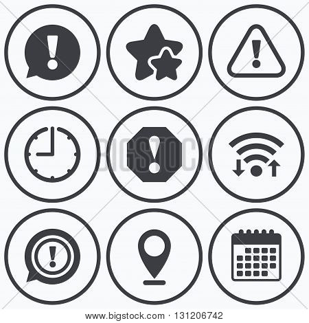 Clock, wifi and stars icons. Attention icons. Exclamation speech bubble symbols. Caution signs. Calendar symbol.