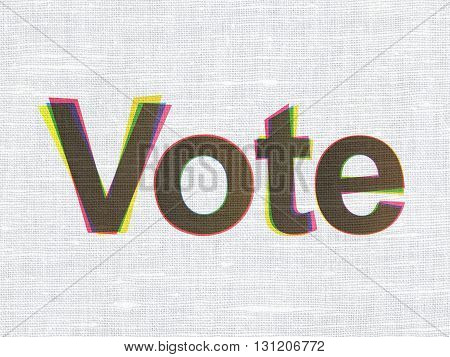 Political concept: CMYK Vote on linen fabric texture background