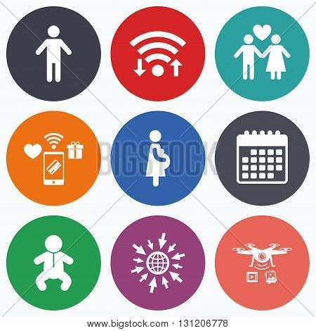Wifi, mobile payments and drones icons. Family lifetime icons. Couple love, pregnancy and birth of a child symbols. Human male person sign. Calendar symbol.