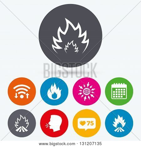 Wifi, like counter and calendar icons. Fire flame icons. Heat symbols. Inflammable signs. Human talk, go to web.