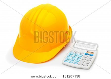 Construction Helmet With Calculator On White