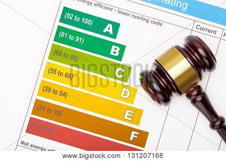 Wooden Judge Gavel Over Colorful Efficiency Chart - View From Top