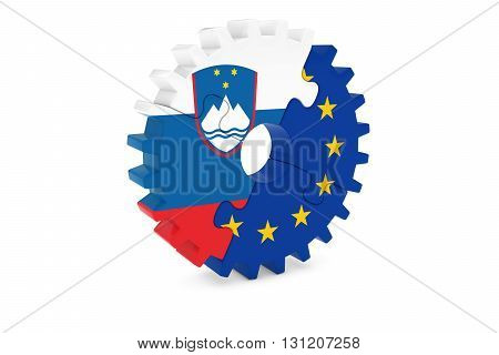 Slovenian And European Cooperation Concept 3D Illustration