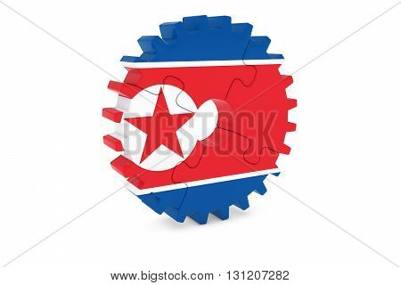 North Korean Industry Concept - Flag Of North Korea 3D Cog Wheel Puzzle Illustration