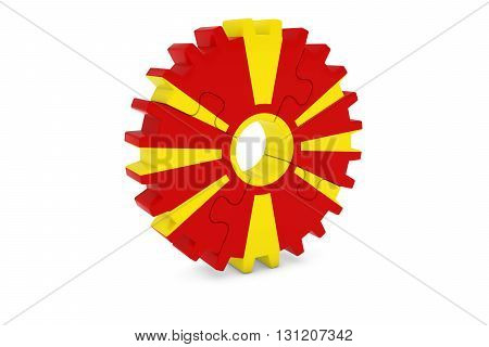 Macedonian Industry Concept - Flag Of Macedonia 3D Cog Wheel Puzzle Illustration