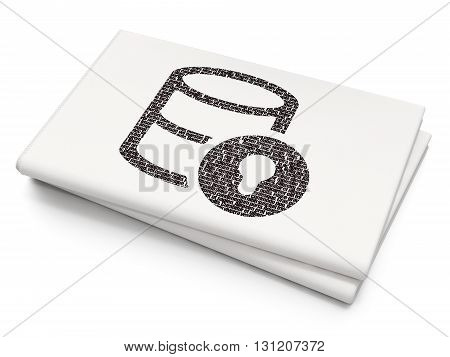 Programming concept: Pixelated black Database With Lock icon on Blank Newspaper background, 3D rendering
