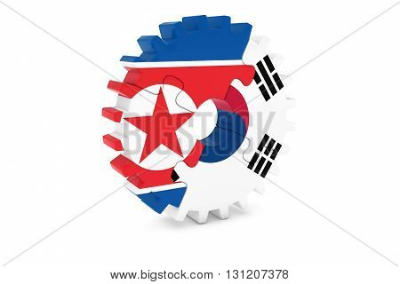 North Korean And South Korean Relations Concept 3D Illustration