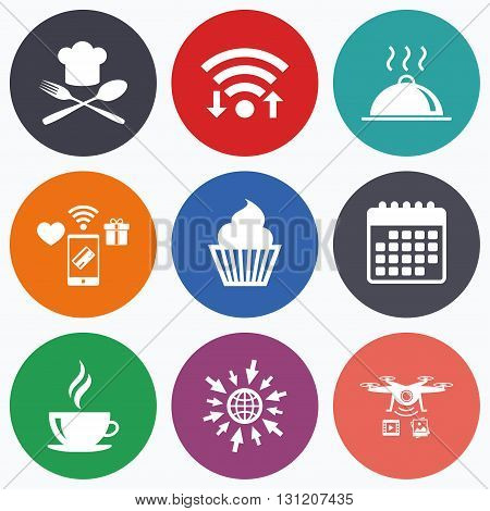 Wifi, mobile payments and drones icons. Food and drink icons. Muffin cupcake symbol. Fork and spoon with Chef hat sign. Hot coffee cup. Food platter serving. Calendar symbol.