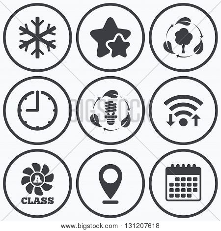 Clock, wifi and stars icons. Fresh air icon. Forest tree with leaves sign. Fluorescent energy lamp bulb symbol. A-class ventilation. Air conditioning symbol. Calendar symbol.