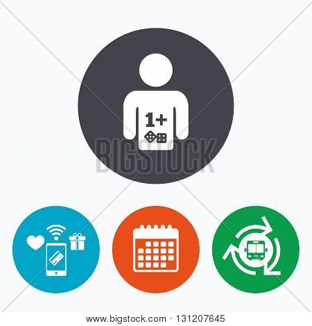 Board games sign icon. One plus players symbol. Dice sign. Mobile payments, calendar and wifi icons. Bus shuttle.