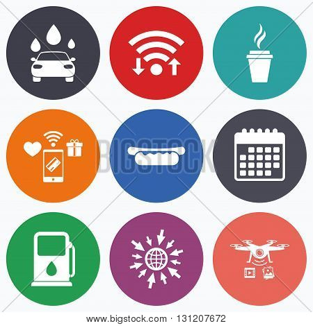 Wifi, mobile payments and drones icons. Petrol or Gas station services icons. Automated car wash signs. Hotdog sandwich and hot coffee cup symbols. Calendar symbol.
