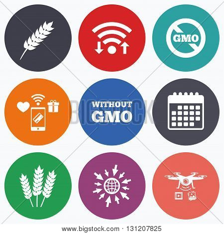 Wifi, mobile payments and drones icons. Agricultural icons. Gluten free or No gluten signs. Without Genetically modified food symbols. Calendar symbol.