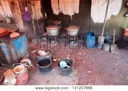 Typical indonesian street kitchen equipment. For cooking delicous food. and cleaning up.