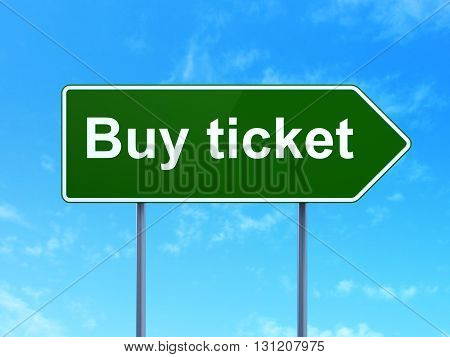 Travel concept: Buy Ticket on green road highway sign, clear blue sky background, 3D rendering