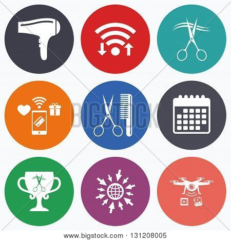 Wifi, mobile payments and drones icons. Hairdresser icons. Scissors cut hair symbol. Comb hair with hairdryer symbol. Barbershop winner award cup. Calendar symbol.