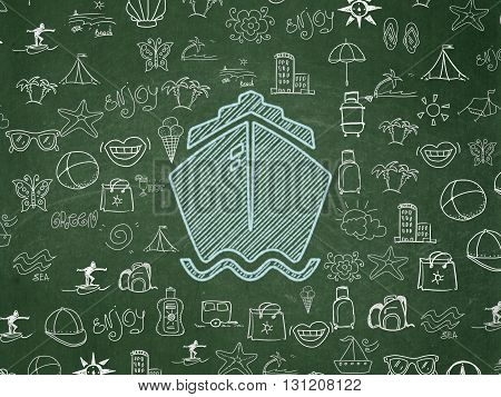 Travel concept: Chalk Blue Ship icon on School board background with  Hand Drawn Vacation Icons, School Board