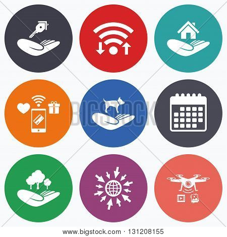 Wifi, mobile payments and drones icons. Helping hands icons. Shelter for dogs symbol. Home house or real estate and key signs. Save nature forest. Calendar symbol.