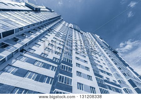 Korolev Russia - May 24 2016: Exterior of the apartment building on sunny day.