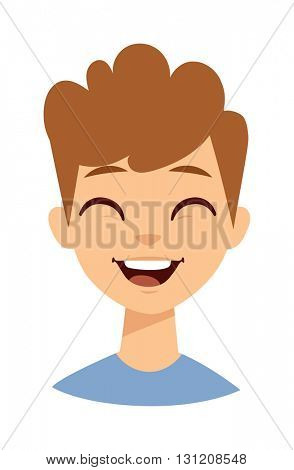 Laughing boy vector illustration.