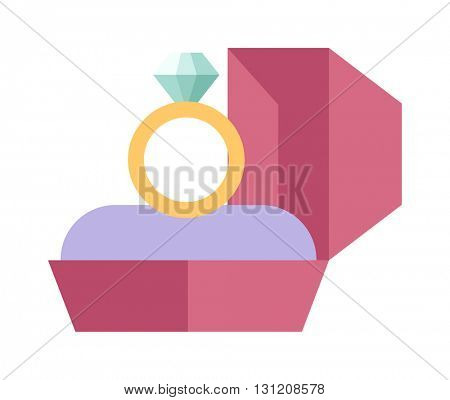 Vector wedding ring in a beautiful pink box flat design.